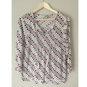 Lucky Brand- Long Sleeve Boho Top with Tassels
